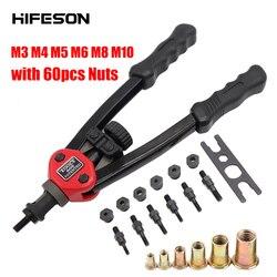 Mão rosqueada rebite porcas armas com porcas 605 606 inserção dupla rebitador manual rebitagem rivnut ferramenta para m3/m4/m5/m6/m8/m10 porca
