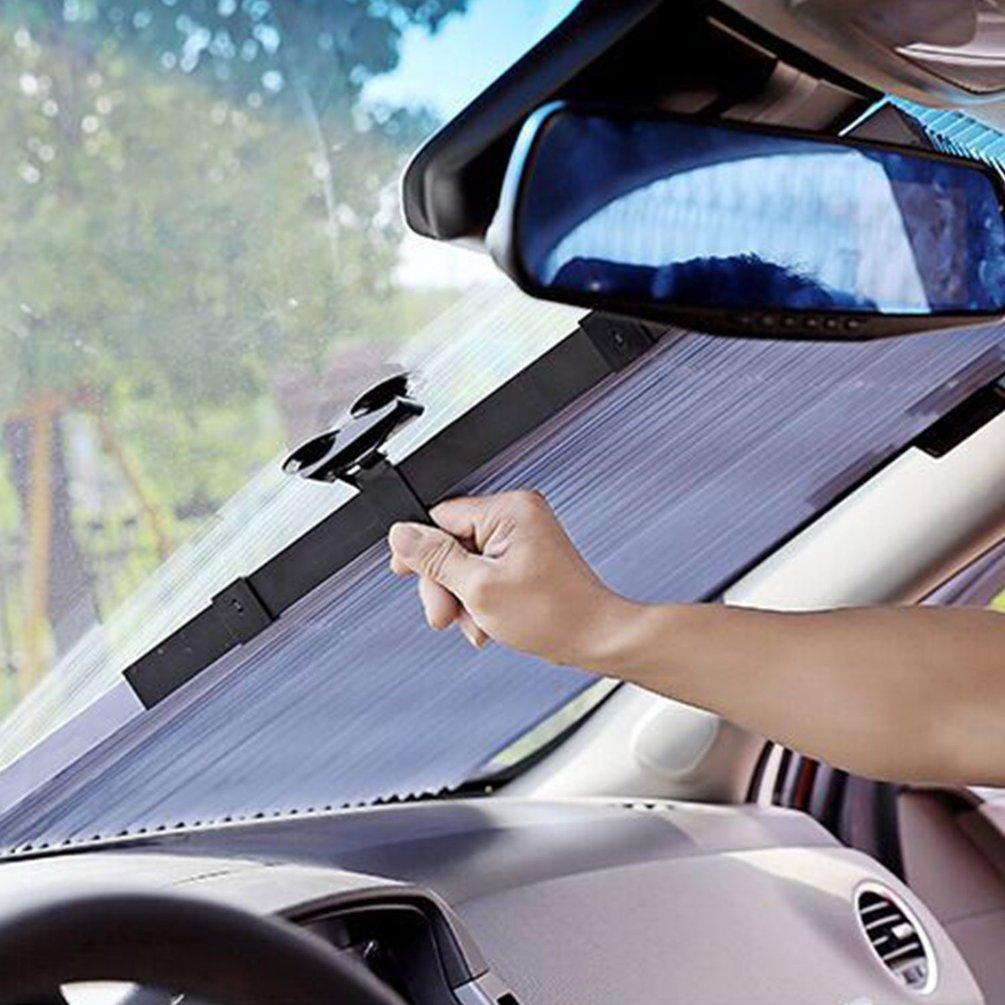 Car Sunscreen Insulation Sunshade Automatic Retractable Folding Front Windshield Visor Curtain Blackout Curtain Light Barrier