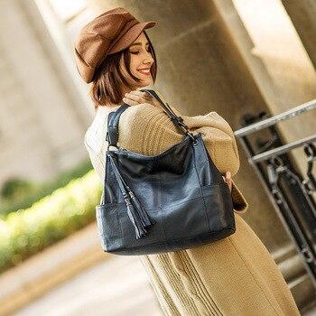 Leather woman bag leather woman bag leather woman bag 2019 new soft leather commuter bag light tote bag shoulder bag ins