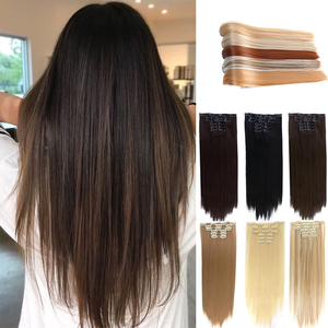 DIANQI 22 inch 16 hairpins in women hair extensions long straight synthetic black blonde wig 6 pieces/set heat resistant