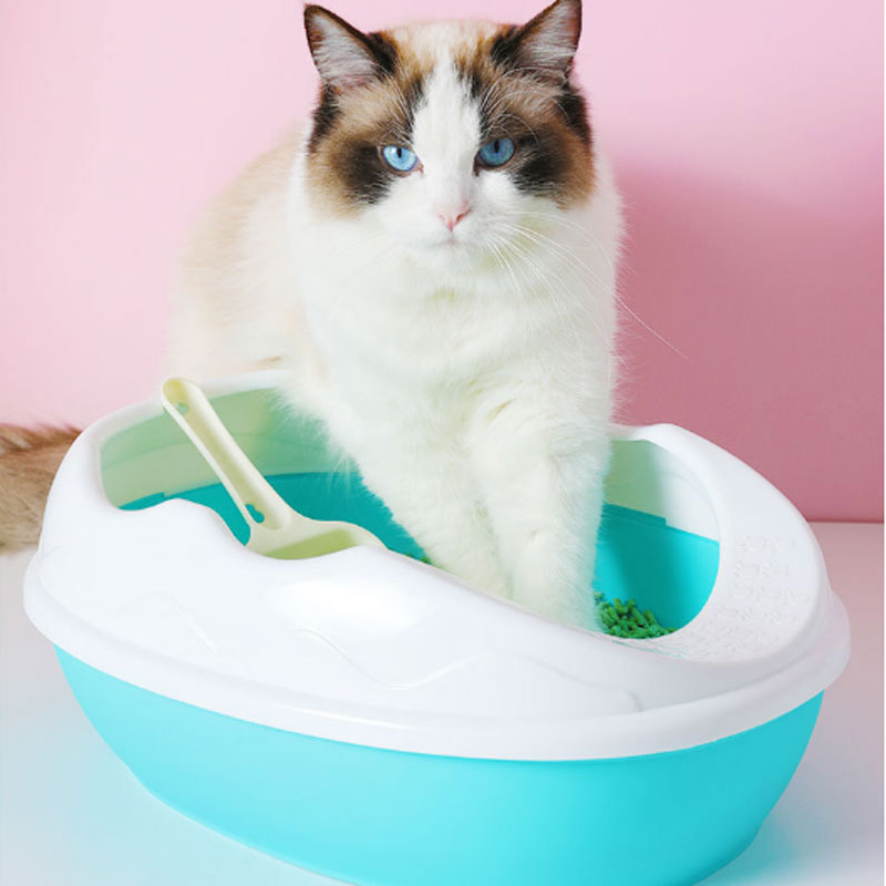 High Fence To Prevent External Splash Litter Box Pet Tray With Scoop  Clean Toilette Home For Small Cat Plastic Pet Supplies