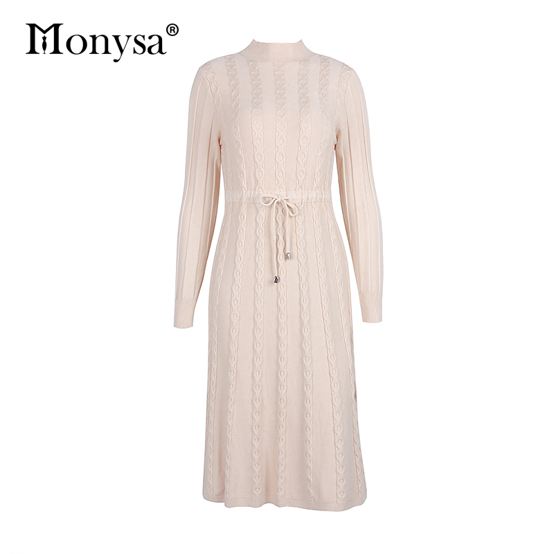 Autumn Winter Dresses 2019 New Arrival Fashion Casual Knee Length Knitted Dress Ladies Long Sleeve Sweater Dresses Black Blue 90