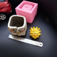 Flower Design Square Flowerpot Silicone Mold for Concrete Pot Molds Succulent Plants Cactus Planting Mould
