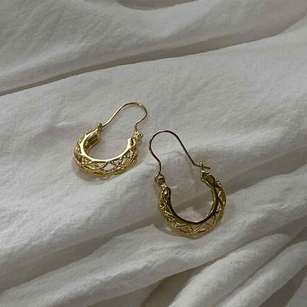 Louleur sterling 925 prata linha tecer anéis a céu aberto do vintage étnico palácio francês brincos de ouro para o festival feminino jóias presente