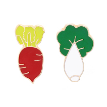 Fashion Brooch Pin Vegetable Theme Red Radish And Chinese Cabbage Cute Cartoon Jewelry
