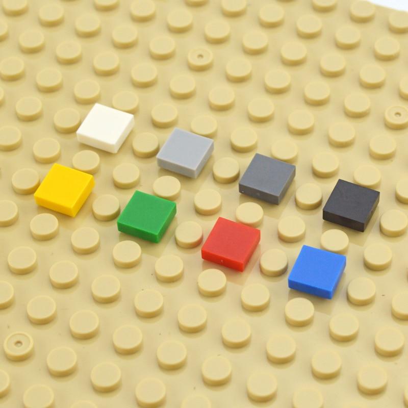 DIY строительные блоки фигурные кирпичи керамическая плитка 1x1 развивающие креативные кубики MOC гладкие плоские игрушечные плитки для детей
