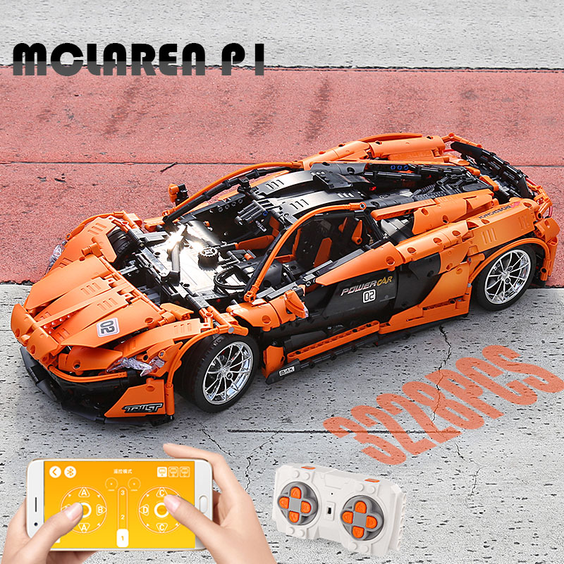 1 to 8 ratio 13090 Technic Series McLaren P1 Orange Racing Car Set APP RC Model Building Blocks Power Motor Function Toys 20087 5