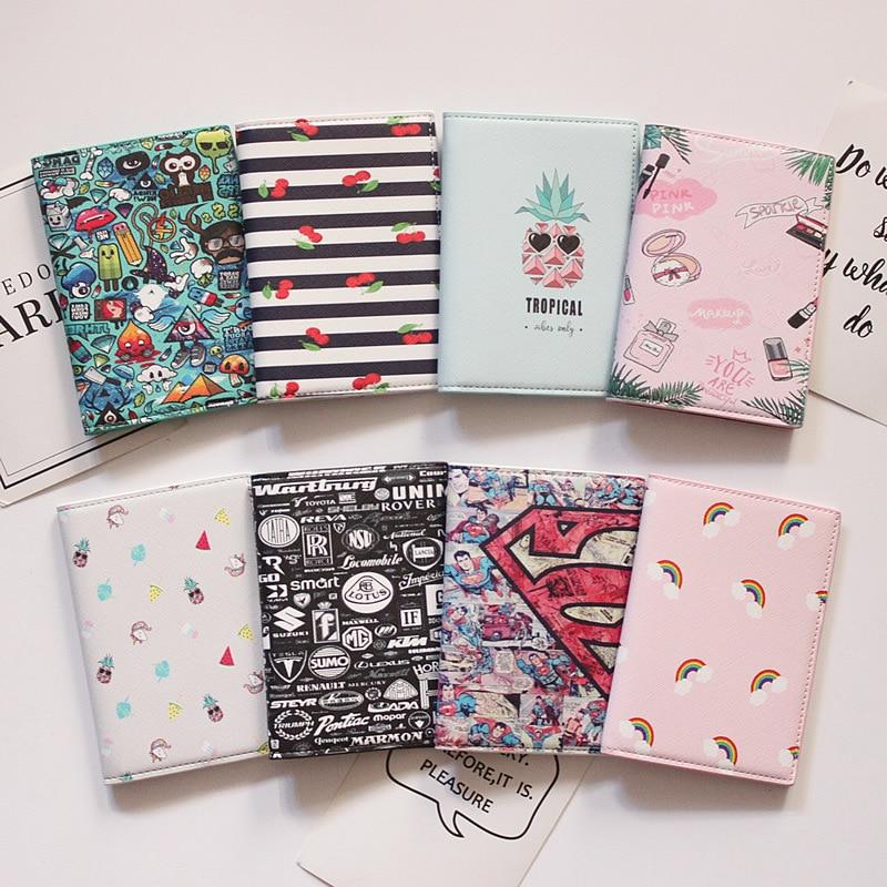 Creative Cartoon Passport Cover Wallet Bag Letter Men Women Pu Leather Id Address Holder Portable Boarding Travel Accessories