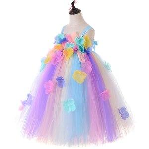 Image 5 - パステル花の妖精ガールチュチュドレスプリンセスチュールフラワーガール結婚式ページェントガウン子供の誕生日パーティードレス