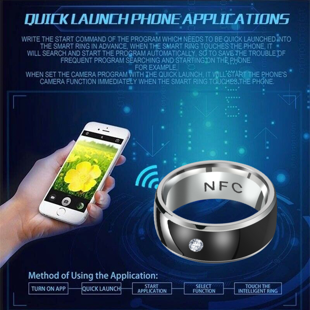 Fashion Men's Ring New Technology NFC Smart Finger Digital Ring for Android Phones with Functional Couple Stainless Steel Ring
