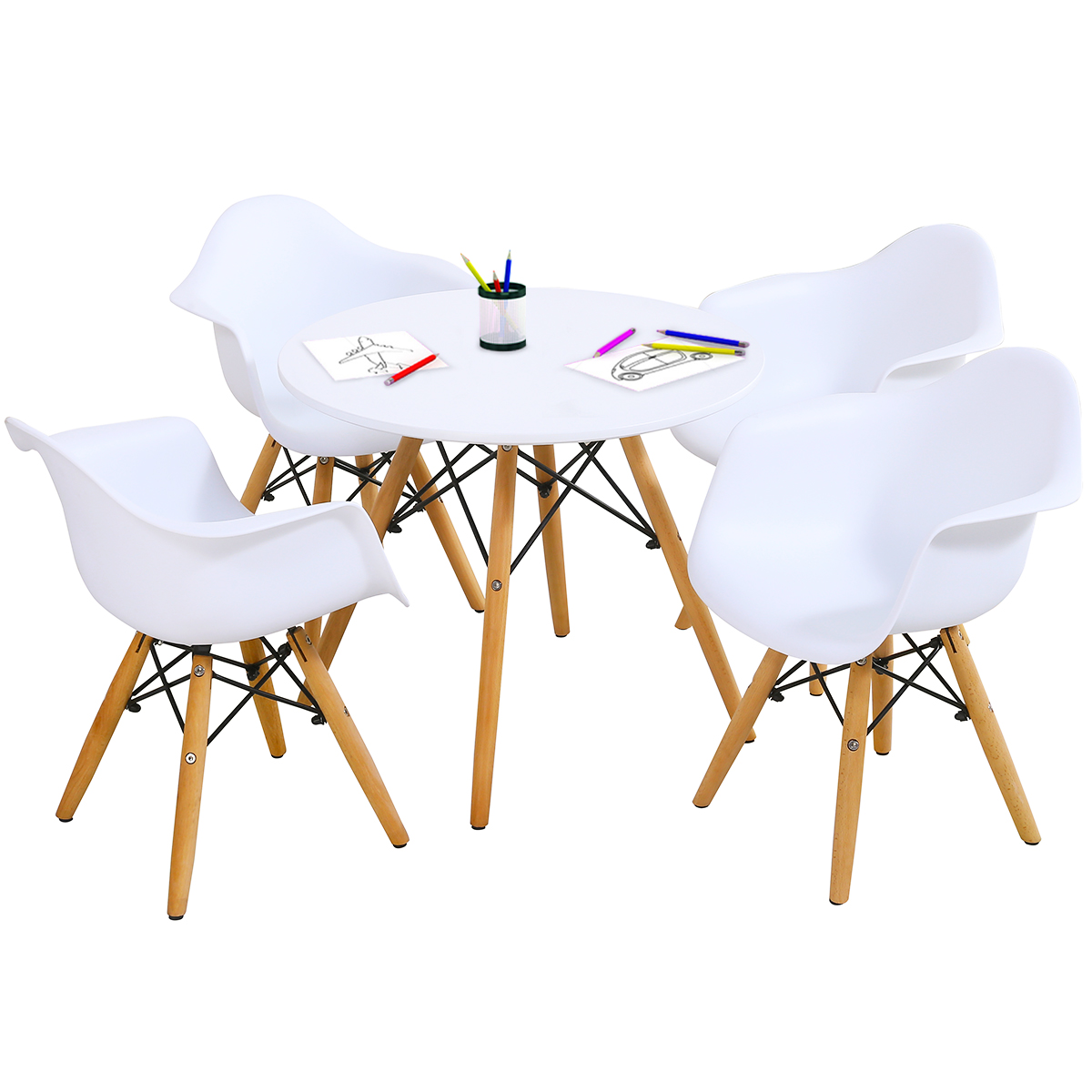 Kids Learning Dining Table &Chairs Set w/4 Chairs Solid Construction 5 pieces
