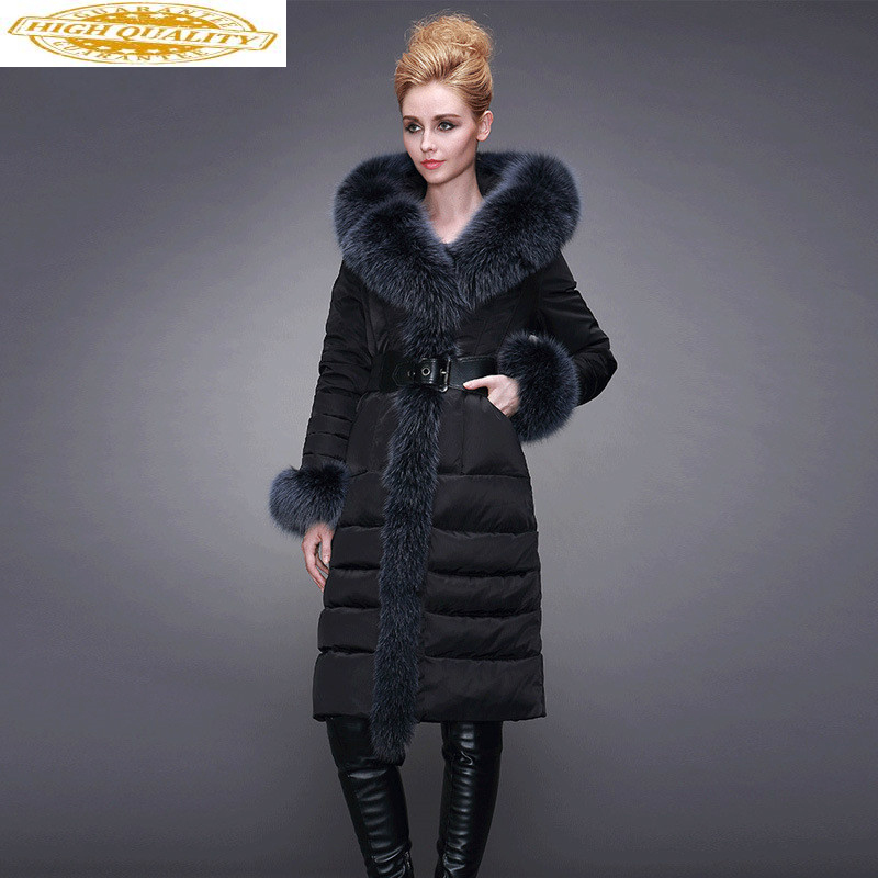 Winter White Duck Down Jacket Women Hooded Big Fox Fur Collar Long Down Coat Puffer Womens Jackets YL1608222 KJ3737