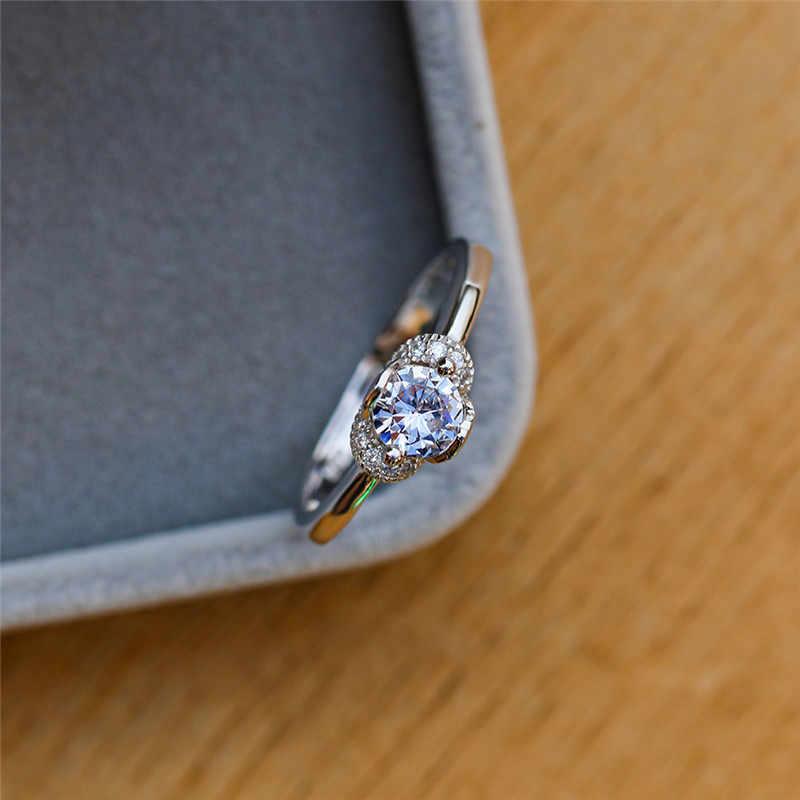 מינימליסטי גבירותיי עגול מעבדה יהלומי טבעת קלאסי אהבה אירוסין טבעות לנשים אופנה 925 סטרלינג כסף חתונה טבעת
