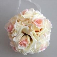 15x21cm el yapımı yapay gül çiçekler öpüşme asılı top DIY buket ev düğün dekor DSS899