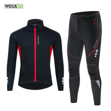 Wosawe Winter Thermische Fleece Fietsen Kleding Mannen Jersey Pak Outdoor Riding Bike Mtb Kleding Warme Broek Set Ropa Ciclismo
