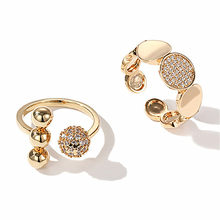 Ajojewel Golden Open Ring 2020 Bling Rhinestone Round Rings For Women With Ball Trendy Accessories Bague Femme