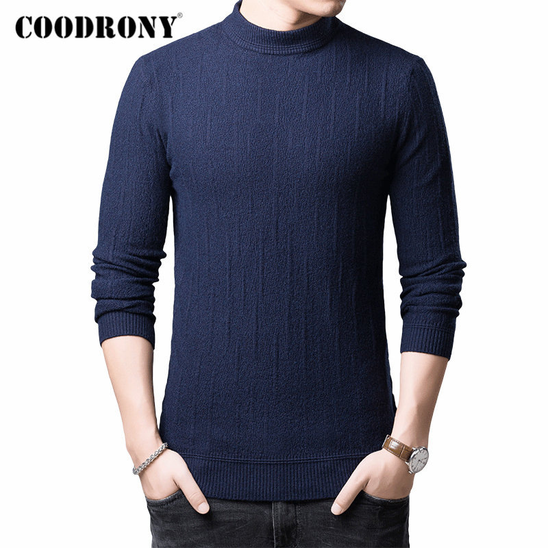 COODRONY Brand Turtleneck Sweater Men Pull Homme Autumn Winter Thick Warm Pullover Men Cotton Wool Knitwear Mens Sweaters 91116