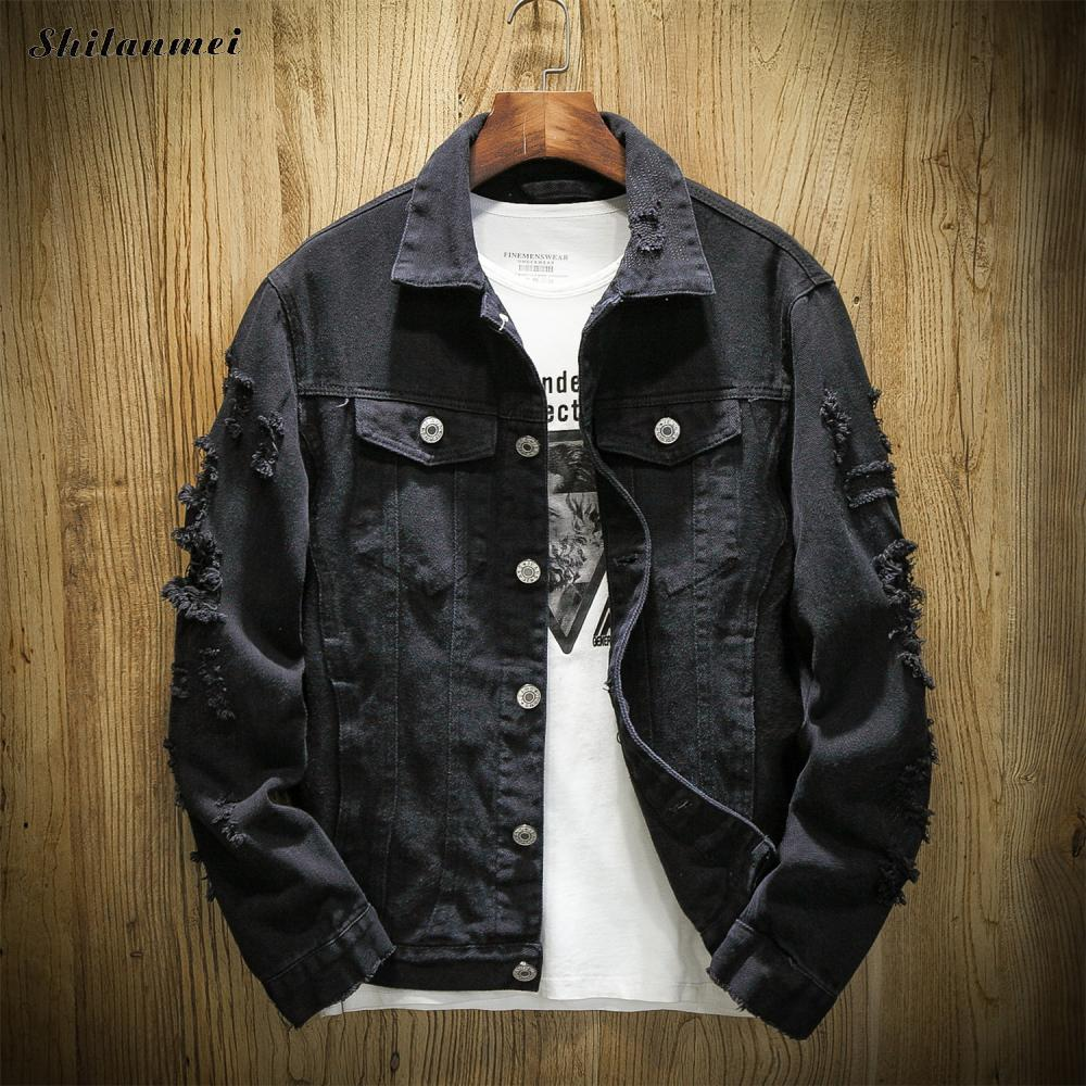 Spring Jeans Jacket Men Ripped Holes Black Mens Denim Jacket Buttons Fashion Streetwear Pockets Casual Male Coat Plus Size 7XL