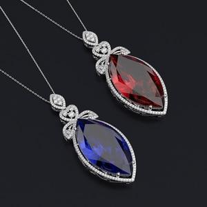 Image 4 - PANSYSEN nowy projekt ślub marka Big Mariquesa Ruby Sapphire wisiorek naszyjniki dla kobiet srebro 925 biżuteria naszyjnik Party prezent
