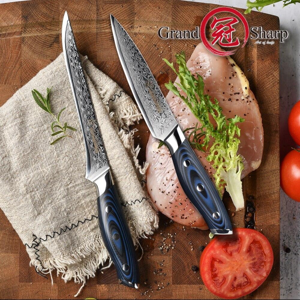 Kitchen Knife Set 2-piece Utility Boning Knife Chef Knife Sets Japanese Damascus Steel Knife Set Butcher Tools Pro Cooking  NEW