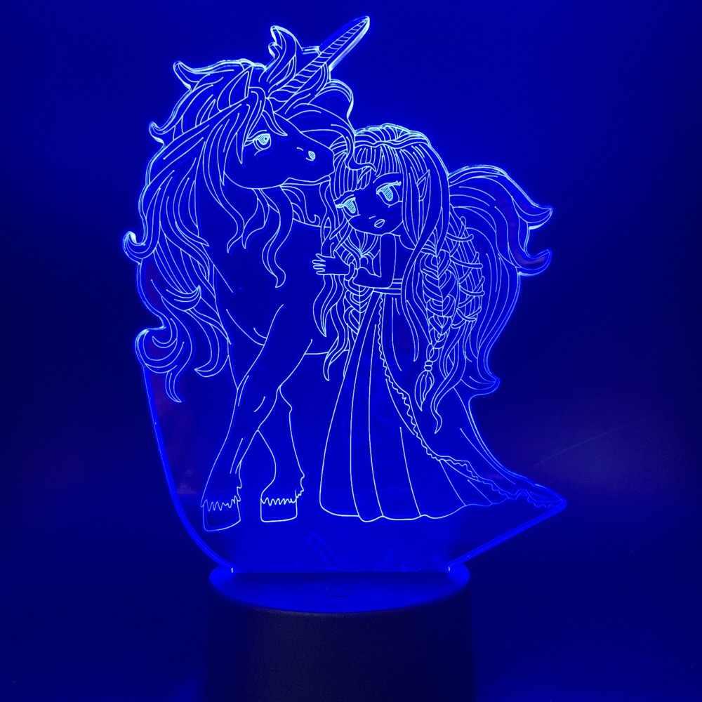 مصباح بصري ثلاثي الأبعاد مع البعيد البكر يونيكورن هدية مناسبة ل Kinfant البصرية USB مشرق عيد ميلاد مهرجان ضوء الليل مصباح
