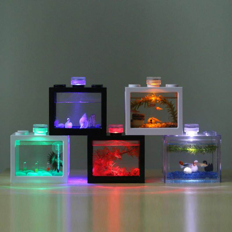 Aquarium Fish Tank Light Home Table Decoration Micro Landscape Lamp LED Light Small Eco Cylinder Accessories LED Fish Tank Lamp