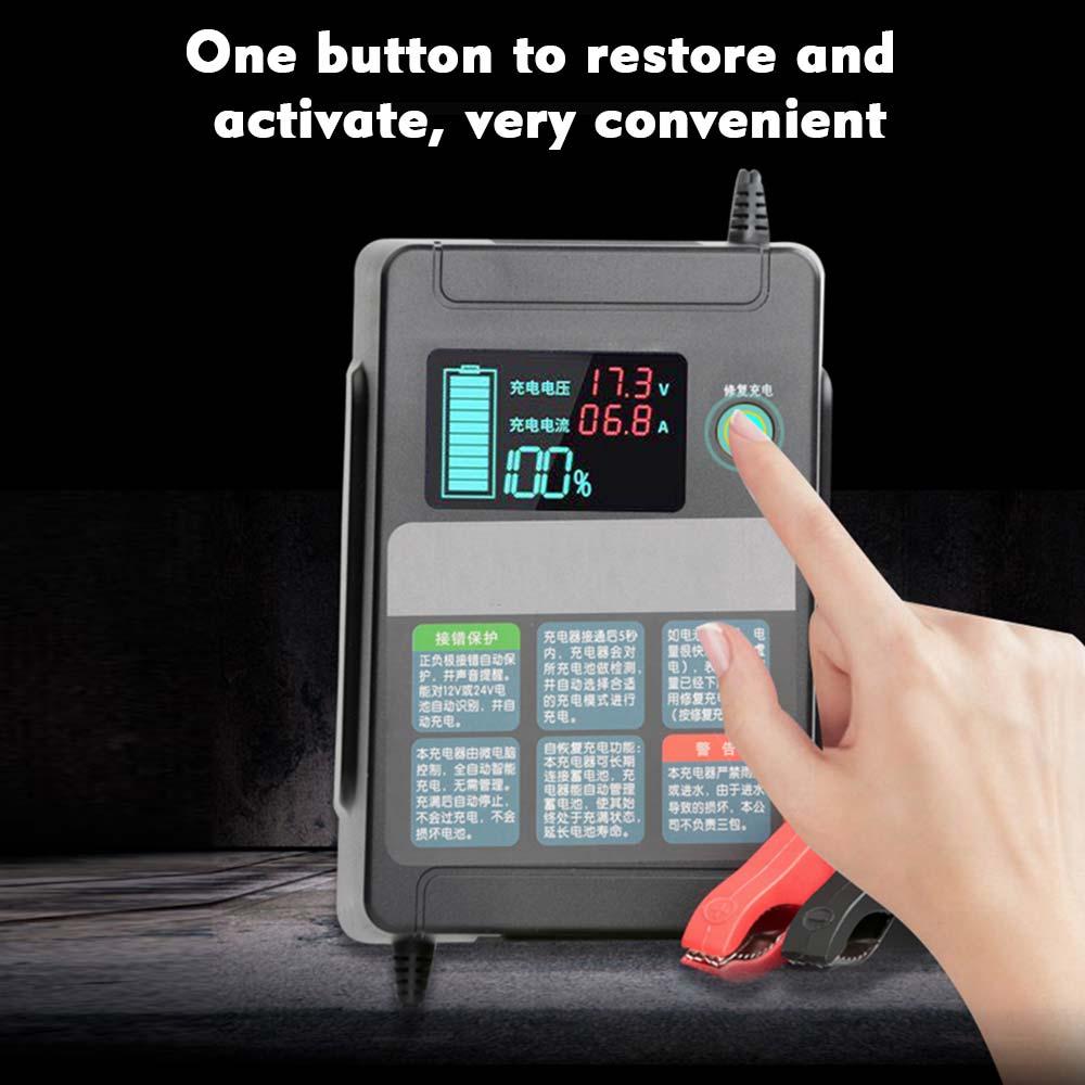 Chargeur de batterie pour voiture 12 V/24 V | Entièrement automatique, charge rapide de batterie, chargeur de réparation dimpulsion, charge de batterie à lacide plomb, sec humide