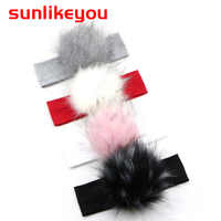 Sunlikeyou Headband For Girls Hair Accessories New Baby Faux Fur Pom Pom Cotton Hair Band Newborn Infant Turban