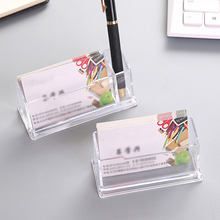 1Pcs Card Box 2 Cells Acrylic Desktop Business Card Holder Pen Holder Display School Office Supplies