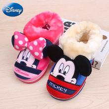 Disney Authentic Cartoon Cotton Indoor Slippers Minnie Warm Home Shoes 2019 Winter Non-slip Boys Girl Mickey Plush Autumn Women