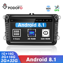 Podofo Car Stereo Receiver Radio Android 2 Din 8'' Multimedia Audio Player GPS for Volkswagen/Golf/Passat/b7/b6/Skoda/Seat/Polo