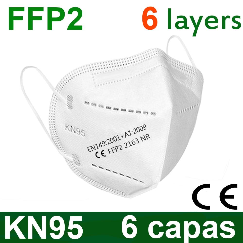 6 couches 5-200 pièces FFP2 masque facial KN95 masques faciaux filtre maske bouche masque anti-poussière masque mascaras mascarilla ventilation