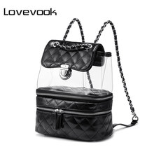 LOVEVOOK mini backpack women clear small school bag female backpack student back pack bags ladies tote bags pvc flap purse 2019(China)