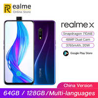 Original realme X 64G Snapdragon 710 Moblie Phone 6.53'' Full Screen Pop-up Front Cam Cellphone 20W VOOC Fast Charge 3.0