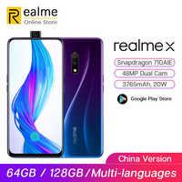 Téléphone mobile Original realme X 64G Snapdragon 710 6.53 ''téléphone portable à caméra frontale Pop-up plein écran 20W VOOC Charge rapide 3.0