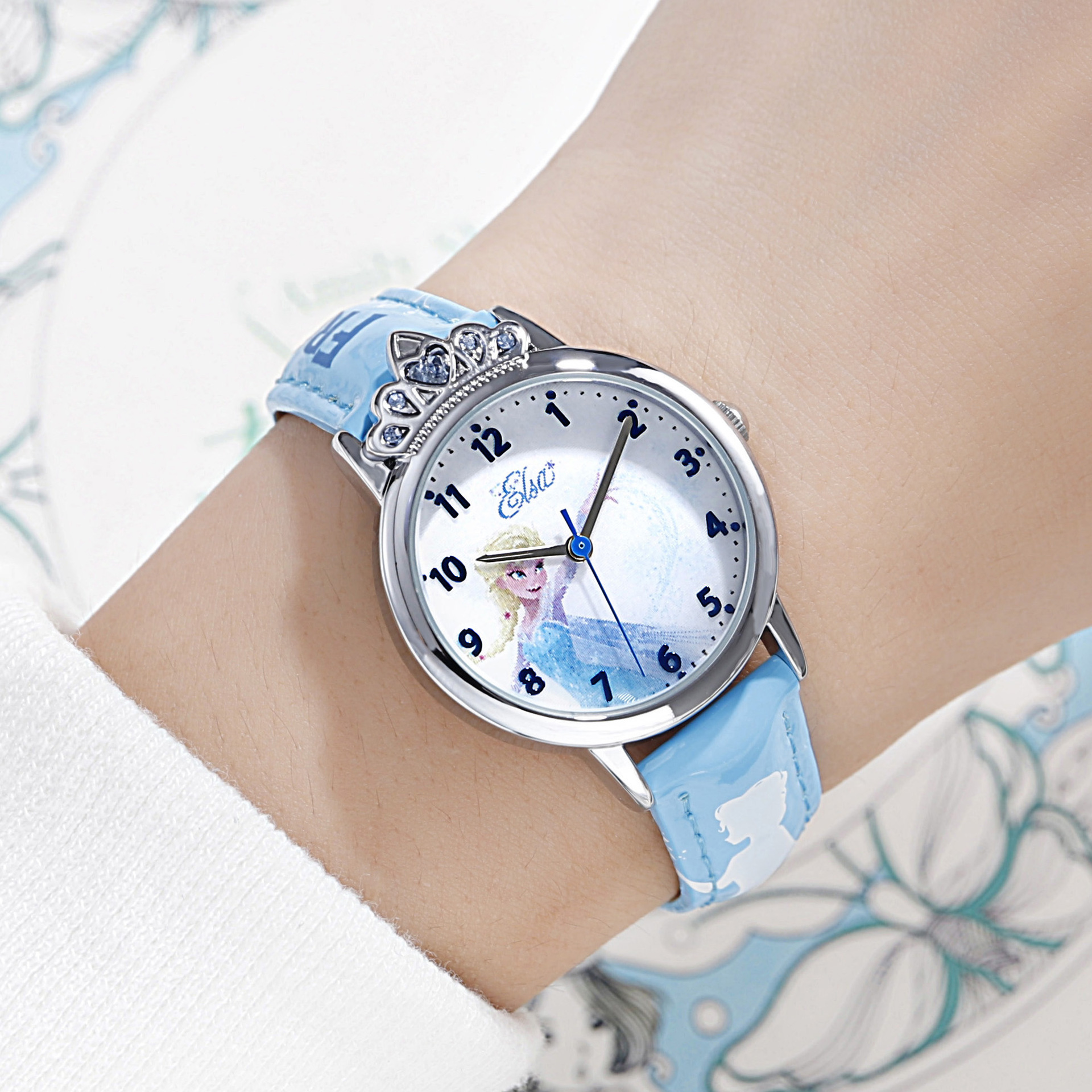 Disney Brand Children Girls Wristwatches Quartz Leather Waterproof Girl Watches Diamond Frozen Princess Child Clocks