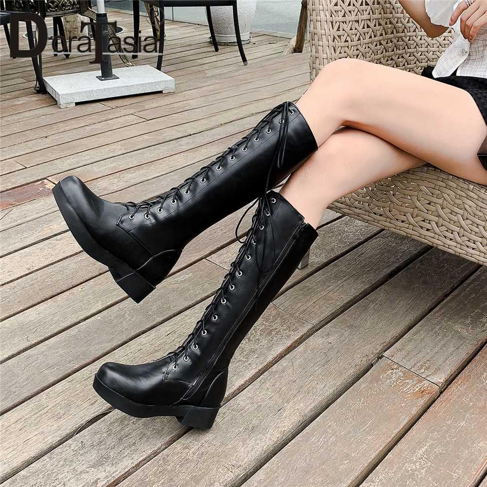 DORATASIA 33-43 Elegant lace-up แพลตฟอร์มขี่ลูกวัวรองเท้าผู้หญิง 2019 ฤดูหนาวเพิ่มขนสัตว์รองเท้าสบายๆรองเท้าผู้หญิง