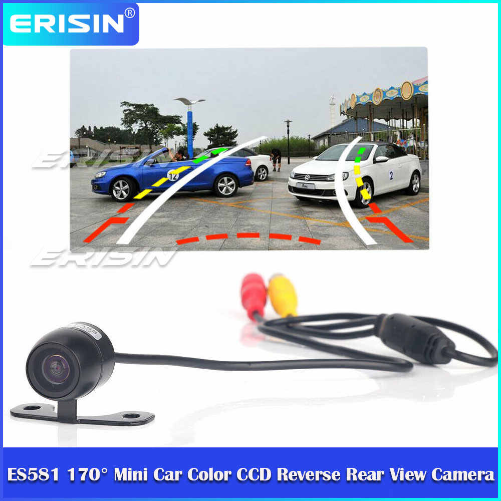 Erisin ES581 Mini HD Dinamis 170 ° Warna CCD Car Reverse Rear View Camera Pal Mengikuti Lintasan
