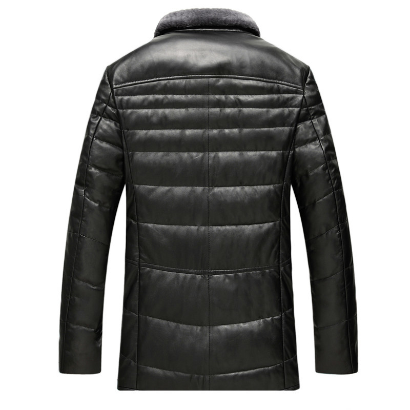 Genuine Leather Jacket Men Autumn Winter Sheepskin Coat Men's Down Jacket Real Wool Collar Veste Cuir Homme GSJ8328B