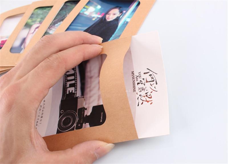 10pcs DIY 6inch Hanging Album w//Clips Rope Kraft Paper Photo Frame Khaki
