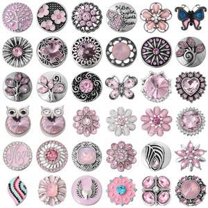 5 шт./лот, новинка, 18 мм, металлические кнопки, ювелирное изделие, Мульти Стиль, розовая кнопка, ювелирное изделие, подходит для 18 мм, браслет, к...