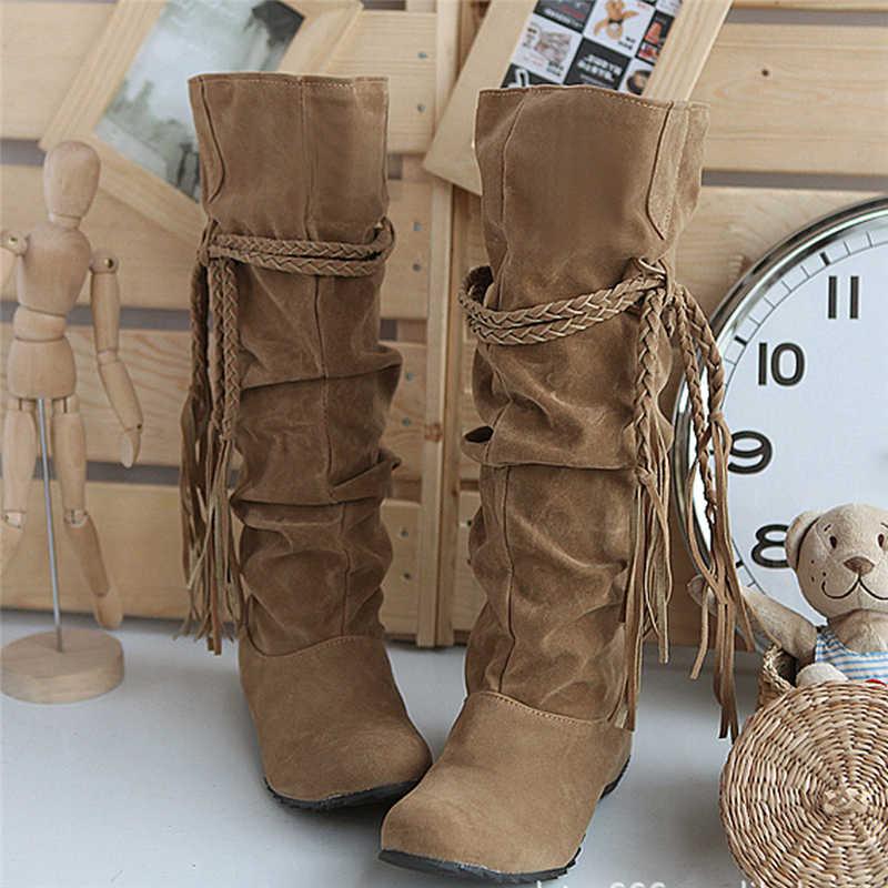 Çizmeler Kadın Artı Boyutu Yükseltmek Platformları Kaymaz Yüksek Tessals Botas Mujer Nieve Kış Vintage Motosiklet Ayakkabı Dökün Kadınlar 6 #5