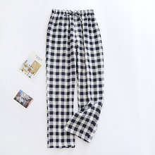 Men Spring and Summer Cotton Crepe Long Pants Female Trousers Grid Pattern Home Living Wear