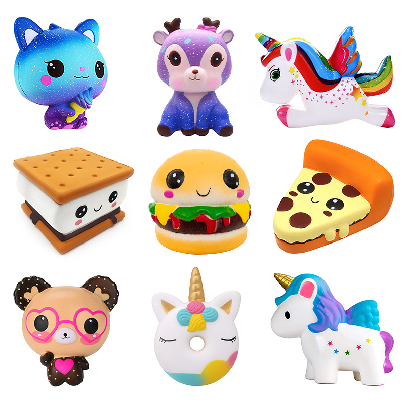 Kawaii Bear Squeeze Toys Squishy Jumbo Deer Unicorn Cat Slow Rising Cream Scented Stress Reliever Antistress Toys For Kid Baby