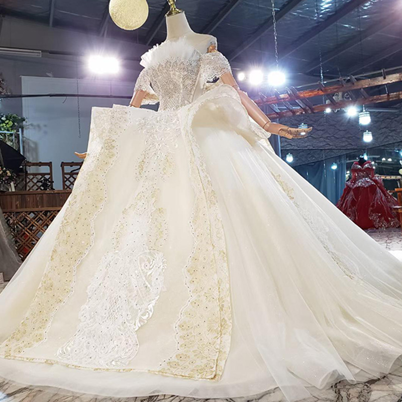 HTL1827 Extravagant Boat Neck Crystal Sequined Beading Wedding Dress 2020 Short Sleeve Applique Ball Gowns 4