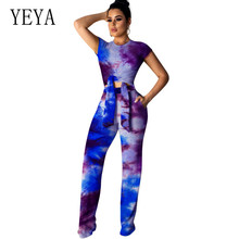 YEYA High-elastic Printed Wide Leg Jumpsuits Summer 2 Pieces Sets Short Sleeve Tie-up Retro Hollow Out Playsuit Stylish Overalls