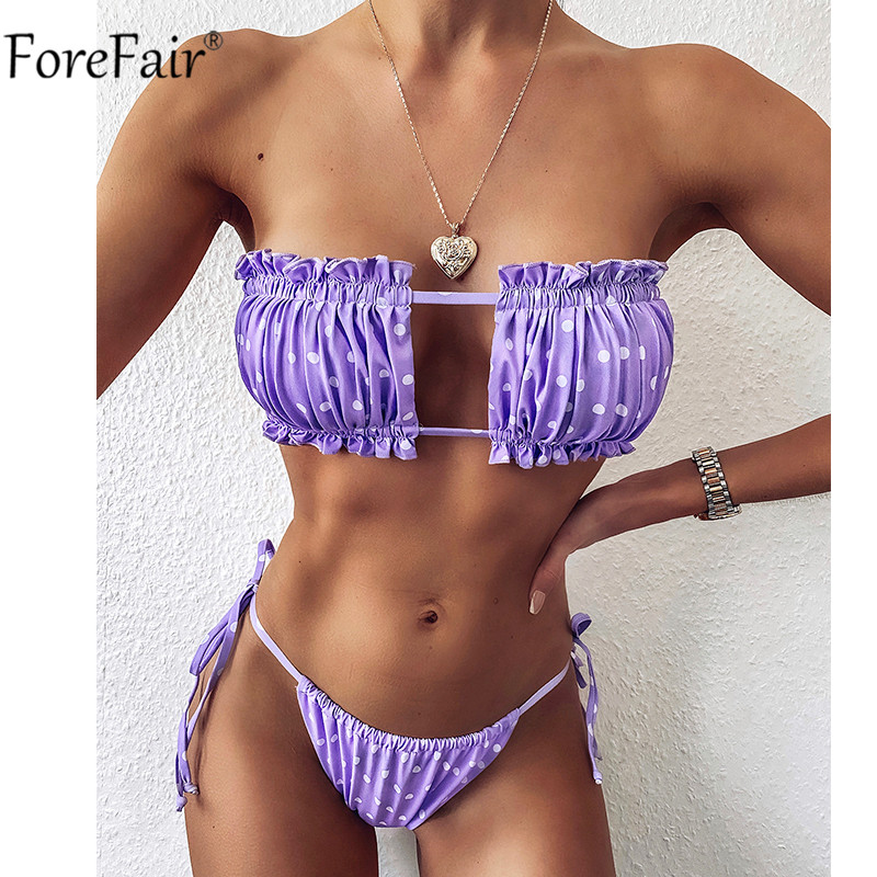 Forefair Bandage 2020 Sexy Bikini Summer Women High Wairt Set Swimsuit Leopard Print Push Up Thong Swimwear