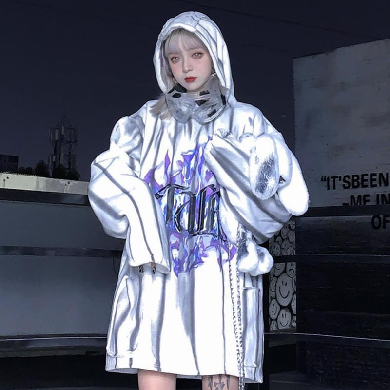 NiceMix Streetwe 2020 Spring Tie-dyed Print Harajuku Sweashirt Women Clothes Lovers Pullover Thickening Velvet Loose Big Size