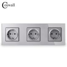 COSWALL קריסטל מזג זכוכית פנל 3 כנופיית כוח קיר שקע מעוגן 16A האיחוד האירופי סטנדרטי אפור חשמל שקע משולששקעי חשמל