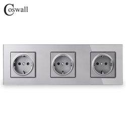 COSWALL Crystal Tempered Glass Panel 3 Gang Power Wall Socket Grounded 16A EU Standard Grey Electrical Triple Outlet